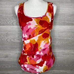 Pink Orange White Red Sheer Top by Ruby Rd Petite